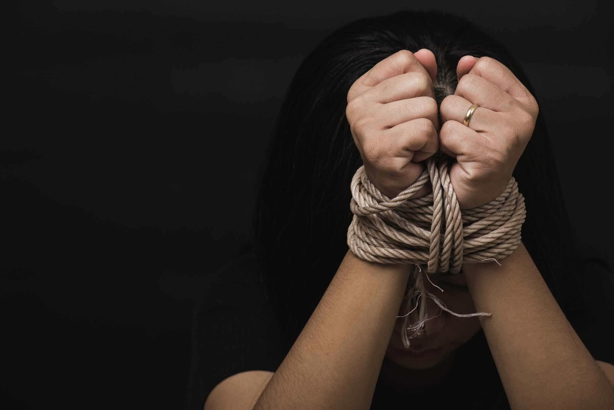 slave woman fears she was hands tied up with rope